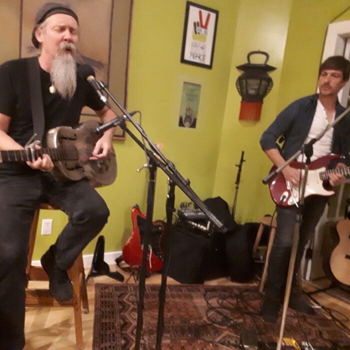 One of the final concerts The Noteworthy Muse hosted in our Keremeos location. Doc MacLean and Albert Frost, Albert is from South Africa and came in with Doc who has played the Muse several times. Astonishing to have this caliber of sound in our world.