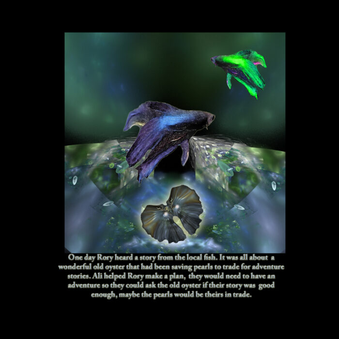 Rorys_book_page_4_8__5_x_8___5_with_Bubbles_the_Guppy_and_Vert_the_green_goldfish_with_oyster_with_words_and_words[1]